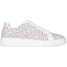 Alaia Leather laser cut sneakers ($889) ❤ liked on Polyvore featuring shoes, sneakers, white, white leather shoes, leather shoes, white sneakers, laser cut leather shoes and leather trainers
