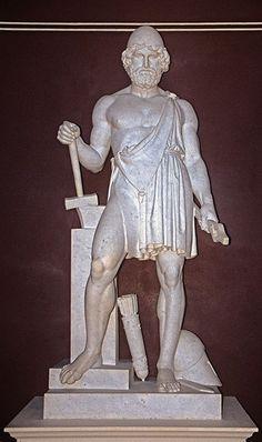 Hefesto-Ferreiro dos deuses; deus do fogo e da metalurgia. Filho de Zeus e Hera ou, de acordo com algumas tradições, apenas de Hera.