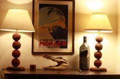 Cricket Ball Study desk Lamps - Unique - Vintage Leather case, mahogany base - office, bedroom