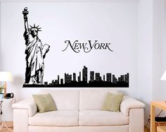 New York Skyline with Stature of Liberty - Traveling the World Wall Decal