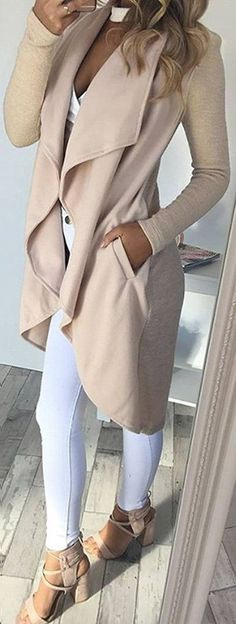 nude and white details lace up heels + long cardigan