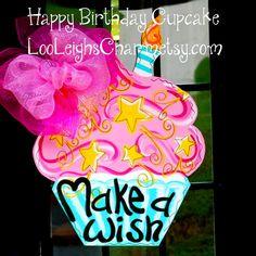 Birthday Door Hanger Birthday Cupcake Birthday by LooLeighsCharm, $45.00