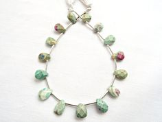 Ruby in Fuchsite, Faceted Teardrop, Pear Briolettes, 12 to 15 Per Strand, Gemstone Beads, Puffed Teardrop, Faceted Briolette, UK Seller