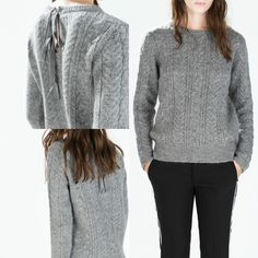 NWT ZARA CABLE KNIT SWEATER WITH BACK TIE AW14 Gray SIZE M #ZARA #CABLEKNITSWEATERWITHBACKTIE