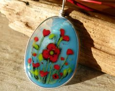Sunflower necklace fused glass pendant by ArtoftheMoment on Etsy