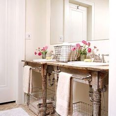 repurpose a table (cut in half) to drop sinks into for a bathroom remodel ! Shabby chic!