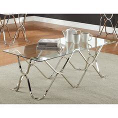 Charming curves come together to provide a unique and shined base for the contemporary coffee table. The tempered glass top enhances the open design while allowing the chrome legs to become the main focal point of your living space.