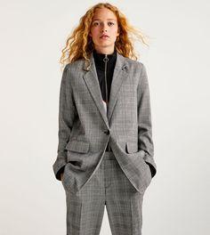 Pull&Bear Żakiet w kratę szary blazer grey checck jacket checked gray