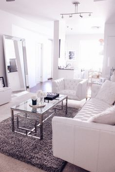 Blondie in the City 4 Reasons Why Your Home Needs A Leaner Mirror Home Decor, black and white home decor, black and white living room, white living room White Interior Design, Interior Design Living Room, Living Room Designs, Living Room White, White Rooms, Mirrors In Living Room, White Home Decor, Rooms Home Decor, Deco Design