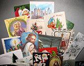 Vintage Christmas Greeting Cards, Christmas Scrapbooking, Collage, Mixed Media, X-Mas 20 cards, Nostalgic Christian Artwork Lot C4