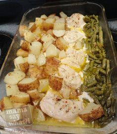 Simple Green Beans, Chicken & Potato Dish--This is good and oh so easy.  Even Caoimhe loved it.  Next time, I would mix the Italian Dressing Mix with the melted butter, I think it would disperse better.  The chicken was very moist and tender.  I did par-boil the potatoes before adding to the dish!