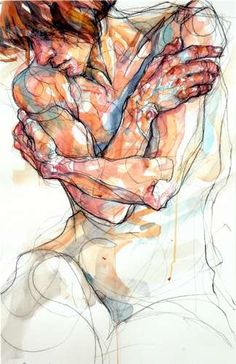 Evocative piece by Sylvie Guillot Painting People, Figure Painting, Painting & Drawing, Human Figure Drawing, Life Drawing, Arte Grunge, A Level Art, Human Art, Art Graphique