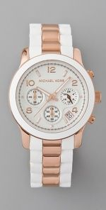 MK - Runway Time Teller Watch - White/Rose Gold $157.50      but i don't want rose gold. i want it gun metal instead