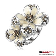 Cheap ring fashion, Buy Quality ring setting directly from China ring women Suppliers: Christmas Big Sale Jewelry Ring Rose Gold Plt SWA Elements Austrian Crystal White Enamel Flower Ring For Women Ri-HQ1006