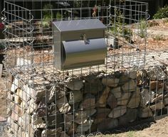 GardenDrum CStewart 13 gabion wall letterbox attached & ready to pack the top layer