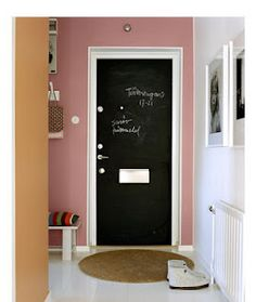 "Laudry Room door to garage.... chalk board paint for ""don't forgets"""
