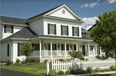 Picture of New home with an old country feel. Large front porch and the white picket fence for the old time retro look. Just one of many new house photos in my gallery. Garden Jacuzzi Ideas, Local Painters, Paint Your House, Roof Colors, House Colors, White Picket Fence, Picket Fences, White Fence, Painting Contractors