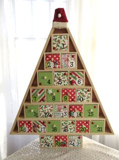 Christmas Tree Advent Calendar - Christmas Countdown Cookies Gingerbread Houses and Cookies - Peppermint Candycane Swirls Christmas Tree Background, Little Christmas Trees, Wooden Christmas Trees, Wooden Tree, Christmas Home, Handmade Christmas, Christmas Cookies, Wooden Advent Calendar, Sewing