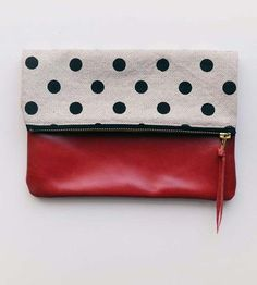 Red Polka Dot Canvas & Leather Foldover Clutch