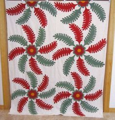Antique 1800s Princess Feather Applique Quilt Top Red Green Dash Cheddar