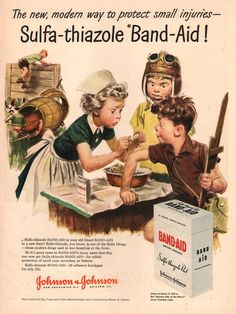 1943 Little Girl Nurse applies Band-Aid to boy playing at war Print ad for Adhesive Bandages WWII era bathroom decor on Etsy, $8.00