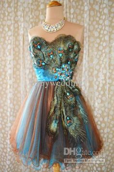 Wholesale 2013newstrapless a line cocktail dress peacock applique rhinestone mini homecoming dress bubble, Free shipping, $104.64-118.45/Piece | DHgate