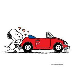 A Snoopy and his car!