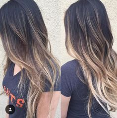 Hair outfit nice Dark to light balayage ombre. nice Dark to light balayage ombre. Hair Color Highlights, Ombre Hair Color, Brown Hair Colors, Red Ombre, Black Hair With Blonde Highlights, Balayage Highlights, Dark Brown Hair With Blonde Highlights, Black Hair Ombre, Dark Hombre Hair