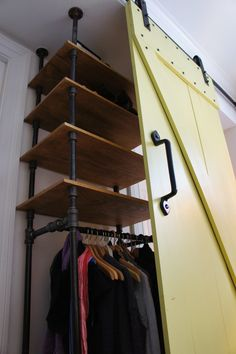 wood shelves, pipe support system & barn doors
