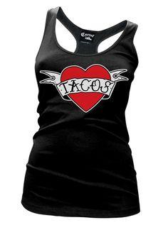 """Women's """"Heart Tacos"""" Racerback Tank by Cartel Ink (Black)"""