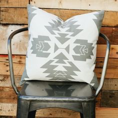 Grey Tribal Pillow Cover