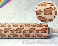 elephant Embossing rolling pin for cookies by RainbowRollingPins