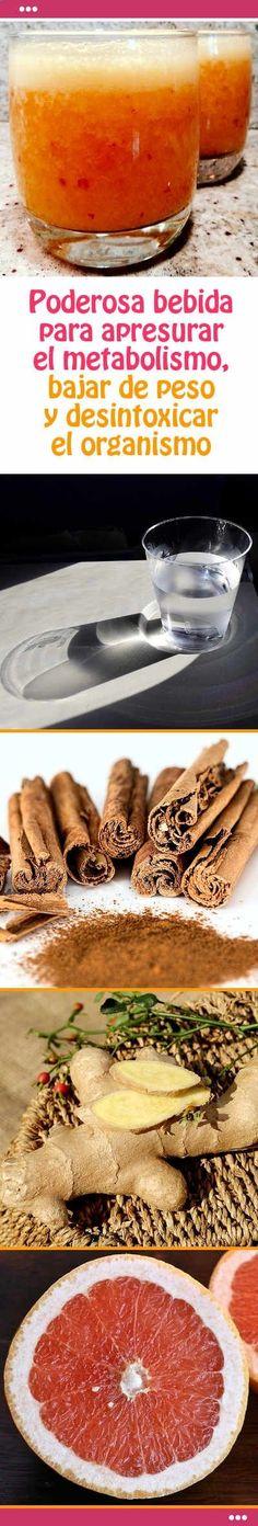 Poderosa bebida para apresurar el metabolismo, bajar de peso y desintoxicar el organismo Pinterest ;) | pinterest.com/...