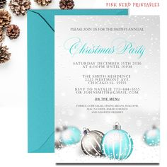 blue ornaments Christmas party invitations, cheap Christmas party invitation
