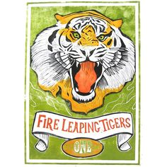 """""""Fire Leaping Tigers"""" by printmaker Rigel Stuhmiller"""