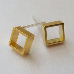Square Earrings Gold-Plate now featured on Fab.