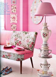 Pink Decoration with Teapot Lamp by vanamaki. Cute lamp but the room is too pink for me. Tea Cup Lamp, Tea Cups, Coffee Cups, Decoration Shabby, Pink Decorations, Teacup Crafts, Teacup Decor, Creation Deco, Everything Pink