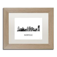 Trademark Fine Art 'Norfolk Virginia Skyline WB-BW' Canvas Art by Marlene Watson, White Matte, Birch Frame, Grey