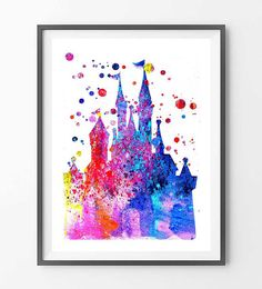 Cinderella Castle Watercolor Print Wall art Nursery by MimiPrints