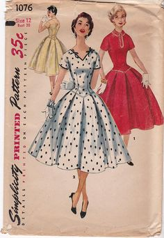 d373e7a9517 FF RARE 1950s Junior Misses  Full Skirt Pleated Dress Pattern Vintage  Sewing Pattern