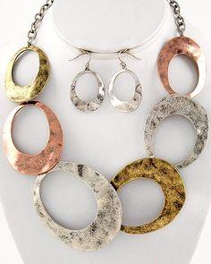 Burnished Tri-tone Hammered Metal Necklace Set $24.99