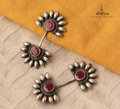 Made in a floral motif with a pretty pink stone in the centre and the most gorgeous design on top , that shows above your ear - these make for a spectacular impact. These are meant for those with a ear piercing on top. Antique Jewellery Designs, Fancy Jewellery, Silver Jewellery Indian, Trendy Jewelry, Fashion Jewelry, Silver Jewelry, Jewelry Accessories, Cuff Earrings, Silver Earrings