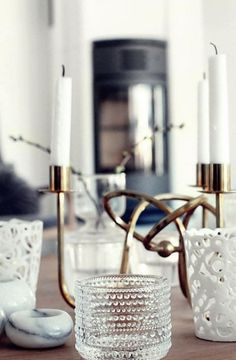 Vintage glass, brass and white - LOVE