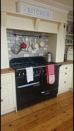 Rangemaster Elan, Laura Ashley tiles kitchen splash back. Laura Ashley, Kitchen Tiles, New Kitchen, Country Kitchen Designs, Electrical Installation, Range Cooker, Splashback, How To Level Ground, Light Fittings