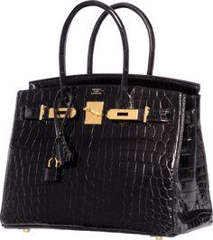 Hermes 30cm Shiny Black Nilo Crocodile Birkin Bag with Gold Hardware