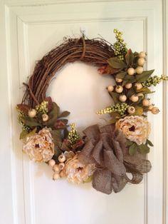 burlap grapevine wreath - Google Search