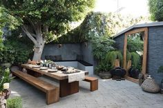 Some outdoor shopping in LA # sponsored ., A little outdoor shopping in LA # sponsored When historic inside concept, the pergola is suffering from a modern day rebirth these types of days. Backyard Garden Design, Large Backyard, Backyard Patio, Backyard Landscaping, Wood Patio, Patio Table, Outdoor Wood Tiles, Urban Garden Design, Succulent Landscaping
