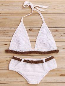Color Block Halter Crochet Bikini Set