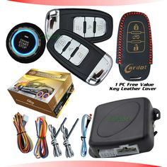 PKE car alarm system with ignition start stop feature remote engine start stop auto central lock