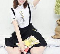 Harajuku Backyard Cat Suspenders Skirt Kawaii Two-Piece Outfit Set